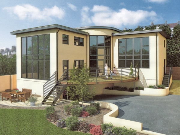 A large ultra-modern house incorporating both double-height picture windows and local Bath stone